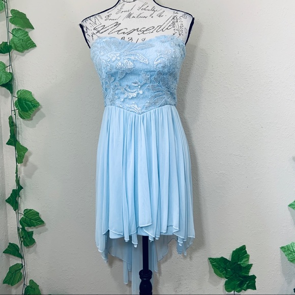 Teeze Me Dresses & Skirts - Cinderella Blue Lace High Low Prom Formal Dress